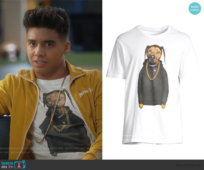 Graphic Dog Tee by Eleven Paris worn by Vivek Shah (Jordan Buhat) on Grown-ish