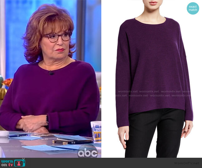 Petite Boxy Fine Merino Wool Ribbed Sweater by Eileen Fisher worn by Joy Behar  on The View