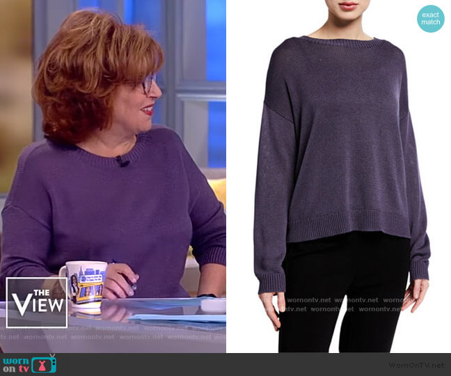 Round-Neck Silk Sweater by Eileen Fisher worn by Joy Behar  on The View
