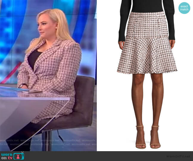 Astrid Tweed Trumpet Skirt by Elie Tahari worn by Meghan McCain  on The View