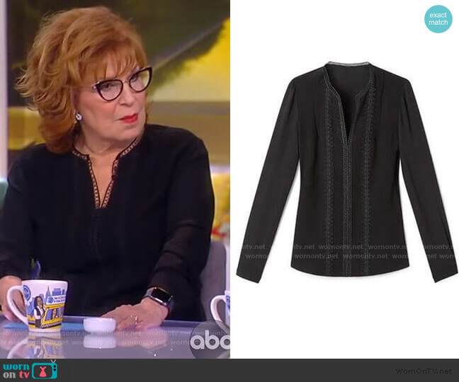 Lace Trim V-neck Blouse by Elie Tahari worn by Joy Behar  on The View