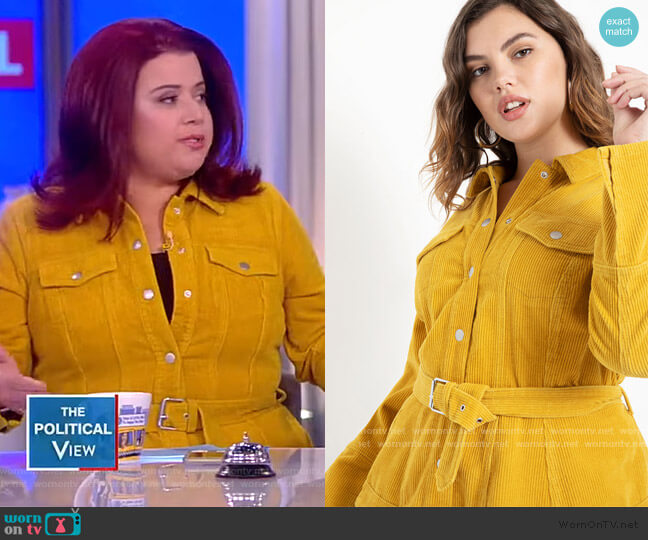 Corduroy Belted Peplum Jacket by Eloquii worn by Ana Navarro  on The View