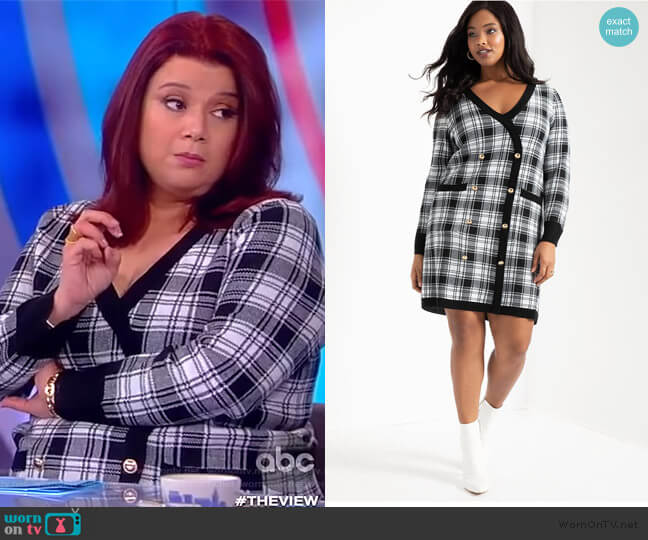Checkered Sweater Dress by Eloquii worn by Ana Navarro  on The View