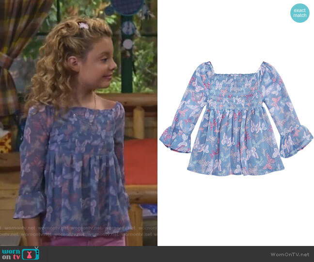 Smocked Butterfly-Print Top by Epic Threads worn by Destiny Baker (Mallory James Mahoney) on Bunkd