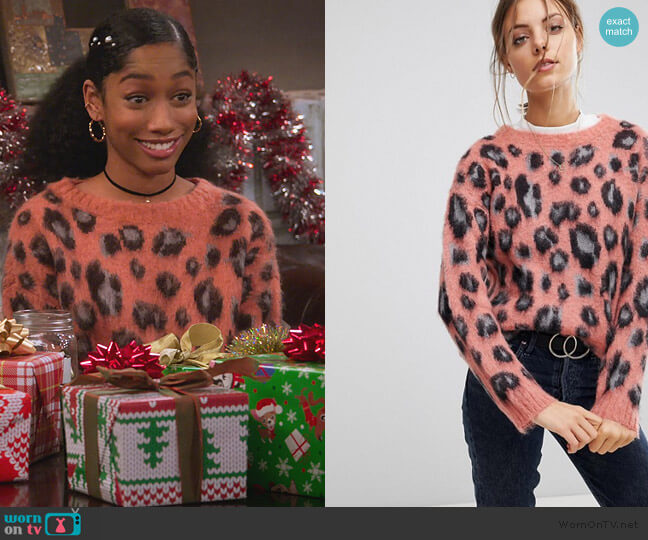 Leopard Jacquard Sweater by RD Style worn by Reagan (Iman Benson) on Alexa & Katie