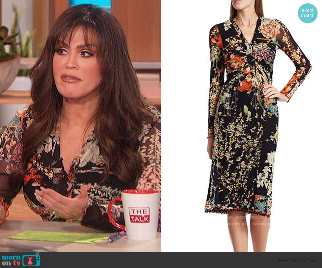 Patchwork Floral Ruched Jersey Midi Dress by Etro worn by Marie Osmond  on The Talk