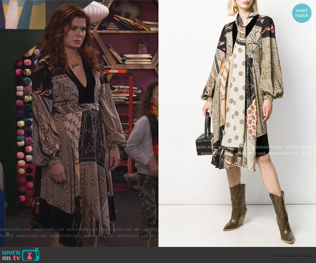 Scarf Dress by Etro worn by Grace Adler (Debra Messing) on Will & Grace