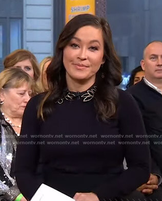 Eva's black sweater with beaded collar on Good Morning America
