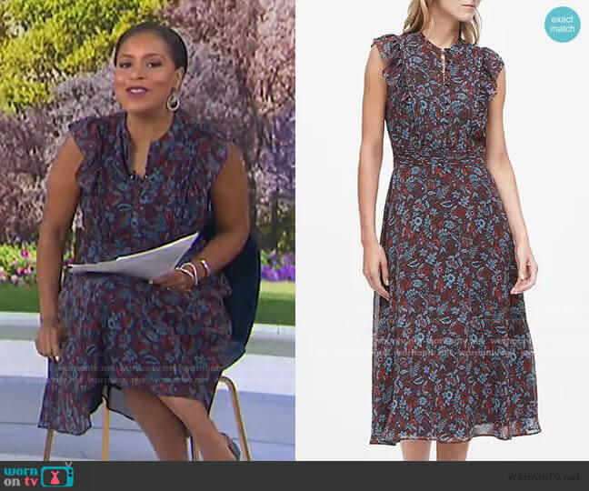 Floral Fit-and-Flare Dress by Banana Republic worn by Sheinelle Jones  on Today