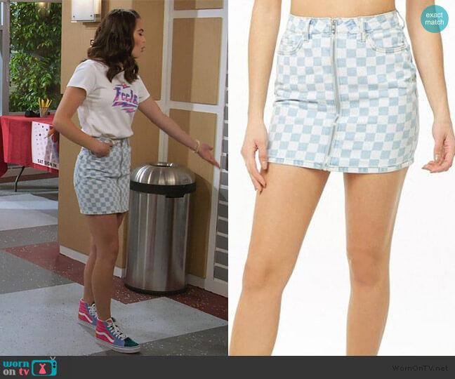 Blue Checkered Print Mini Skirt by Forever 21 worn by Alexa Mendoza (Paris Berelc) on Alexa & Katie