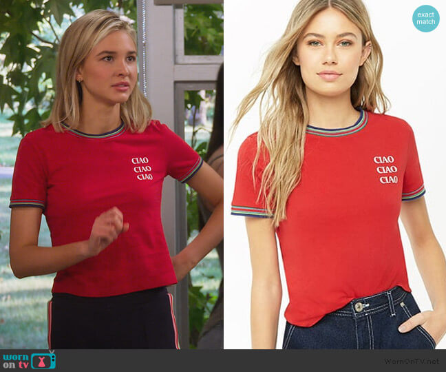 Ciao Ringer Tee by Forever 21 worn by Katie Cooper (Isabel May) on Alexa & Katie