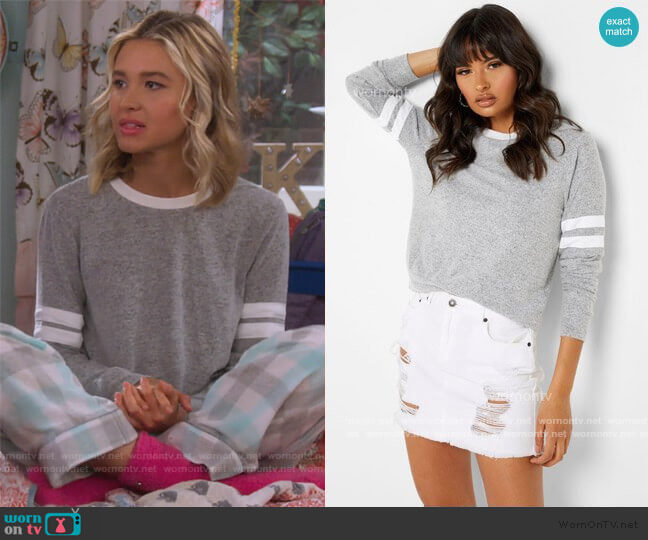 Gray Striped Sweatshirt by Forever 21 worn by Katie Cooper (Isabel May) on Alexa & Katie