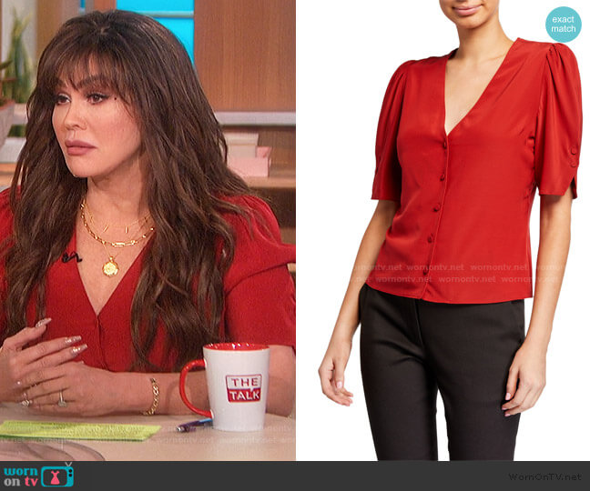 Olivia V-Neck Button-Front Silk Top by Frame worn by Marie Osmond  on The Talk