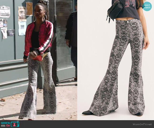Just Float On Printed Flare Jeans by Free People worn by Veronica Fisher (Shanola Hampton) on Shameless