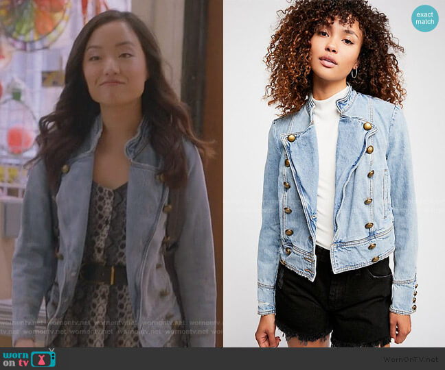 Ferry Denim Jacket by Free People worn by Janet (Andrea Bang) on Kims Convenience