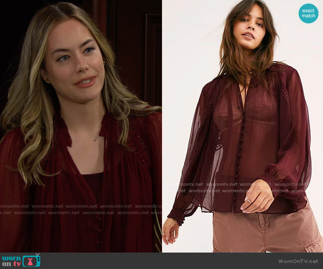 Free People Long Live Love Buttondown worn by Hope Logan (Annika Noelle) on The Bold & the Beautiful