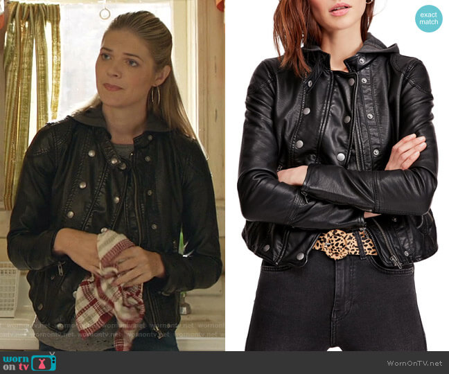 New Dawn Hooded Faux Leather Jacket by Free People  worn by Tami Tamietti (Kate Miner) on Shameless