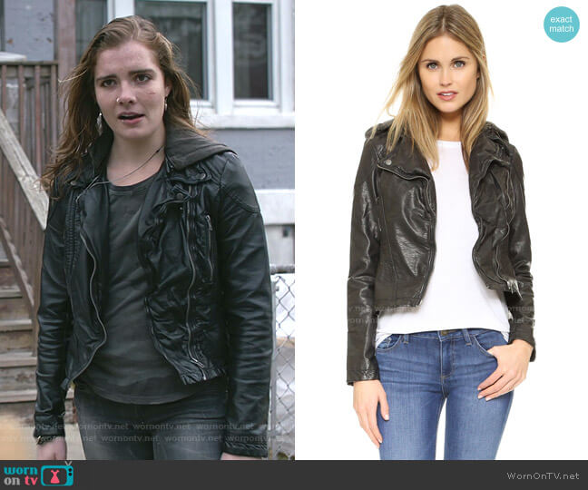 Vegan Leather Hooded Moto Jacket by Free People worn by Elise Eberle on Shameless