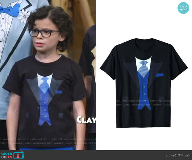 Fake Tuxedo Suit Top with Vest and Tie T-Shirt by Tux Tees at Amazon worn by Matteo Silva (Raphael Alejandro) on Bunkd
