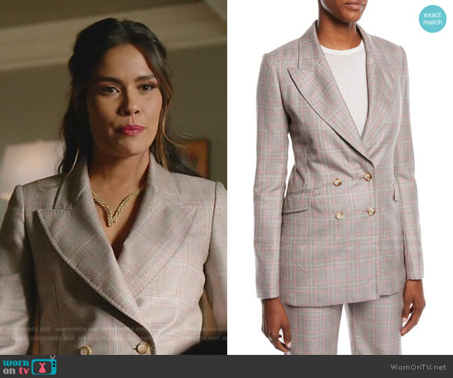 Angel Double-Breasted Cashmere Plaid Suiting Blazer by Gabriela Hearst worn by Cristal Jennings (Daniella Alonso) on Dynasty