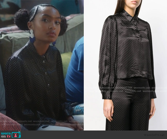 Half Buttoned Cropped Shirt by Ganni worn by Zoey Johnson (Yara Shahidi) on Grown-ish