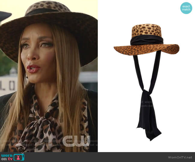 Verushka Hat by Gladys Tamez Millinery worn by Dominique Deveraux (Michael Michele) on Dynasty
