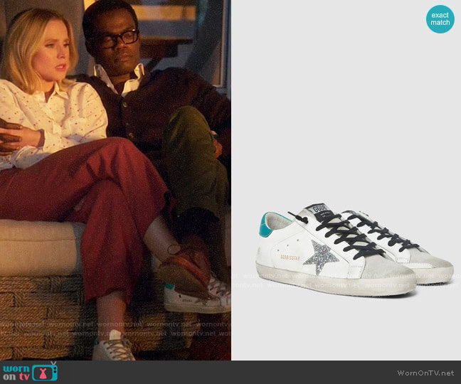 Golden Goose Superstar Glitter Star Green Tab Leather Sneakers worn by Eleanor Shellstrop (Kristen Bell) on The Good Place