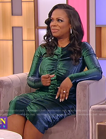 Kandi Burruss's green metallic ruched dress on Tamron Hall Show