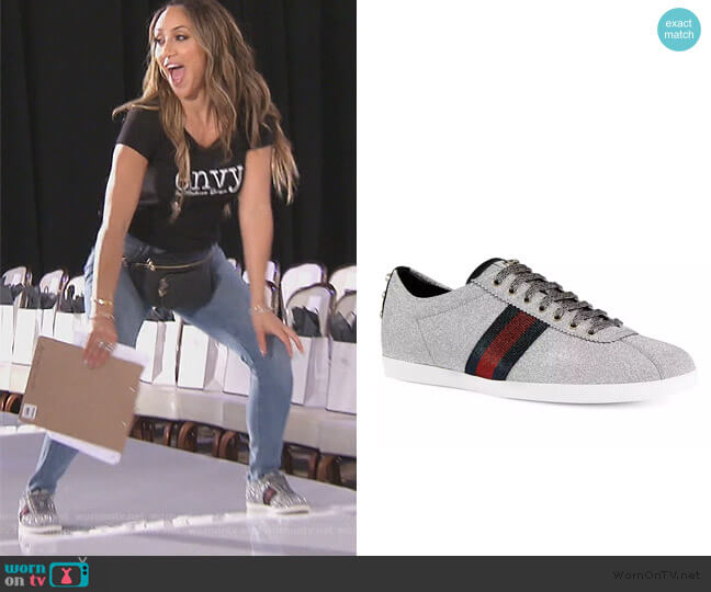 Bambi Metallic Trainer by Gucci worn by Melissa Gorga  on The Real Housewives of New Jersey