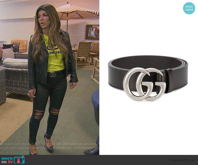 Leather belt with double G buckle Gucci worn by Teresa Giudice  on The Real Housewives of New Jersey
