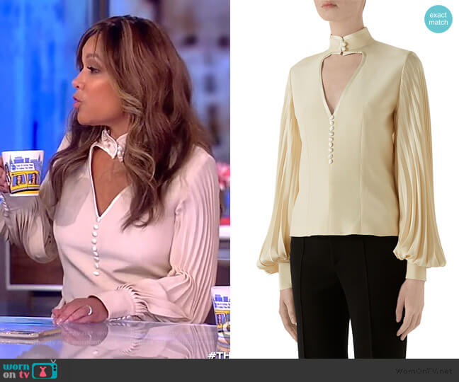 Long-Sleeve Silk Blouse by Gucci worn by Sunny Hostin  on The View