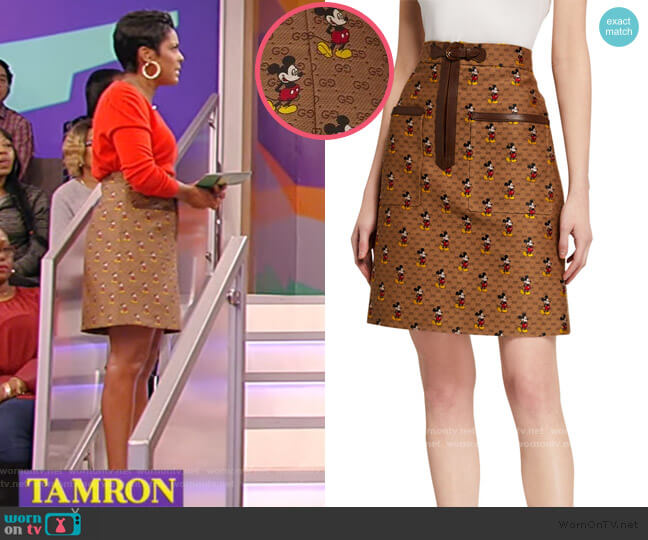 x Disney Mickey Mouse Canvas Skirt by Gucci worn by Tamron Hall  on Tamron Hall Show