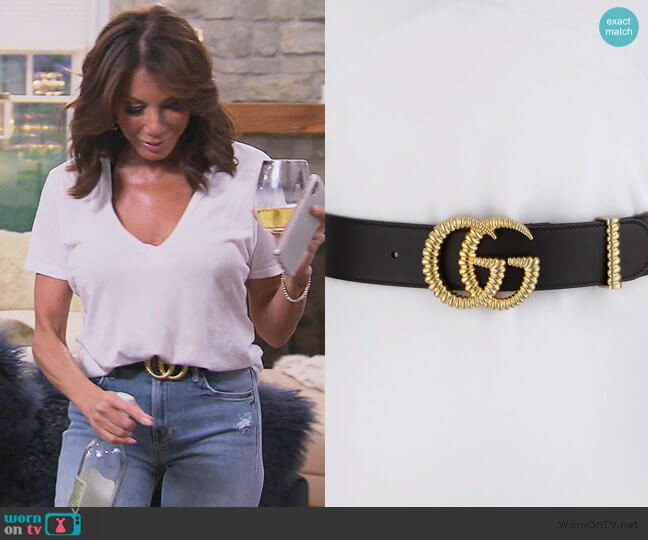 Black Leather GG Belt by Gucci worn by Danielle Staub  on The Real Housewives of New Jersey