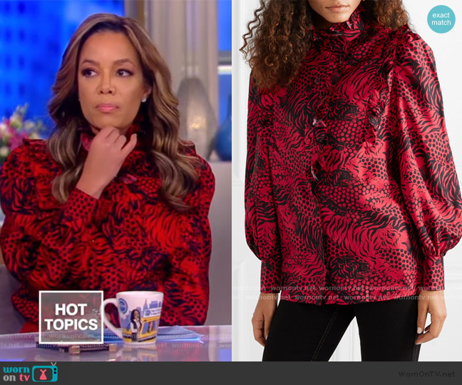 Ruffled printed silk-twill shirt by Gucci worn by Sunny Hostin  on The View