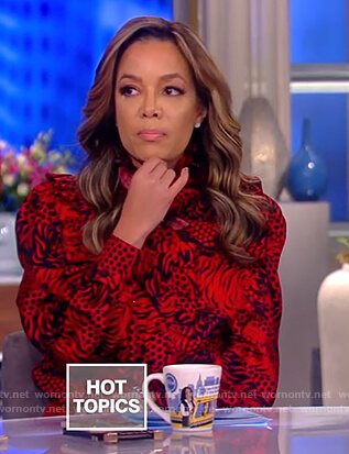 Sunny's red tiger print ruffle blouse on The View