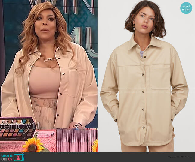 Faux Leather Shirt Jacket by H&M worn by Wendy Williams  on The Wendy Williams Show