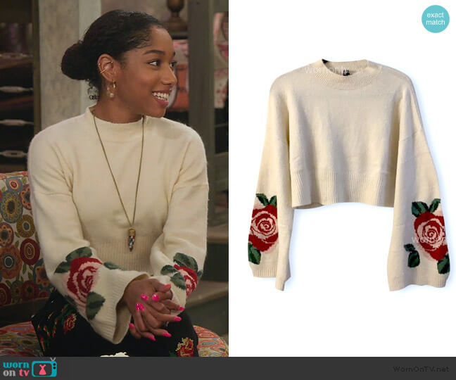 Rose Sweater with Bell Sleeves by H&M worn by Reagan (Iman Benson) on Alexa & Katie