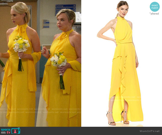 Halston Sleeveless Mock-Neck Gown with Drape Front Detail worn by Kristin Baxter (Amanda Fuller) on Last Man Standing