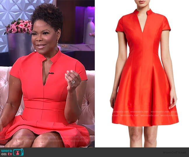 Cap-Sleeve Silk-Blend Faille Flare Dress by Halston worn by Angela Robinson on The Real