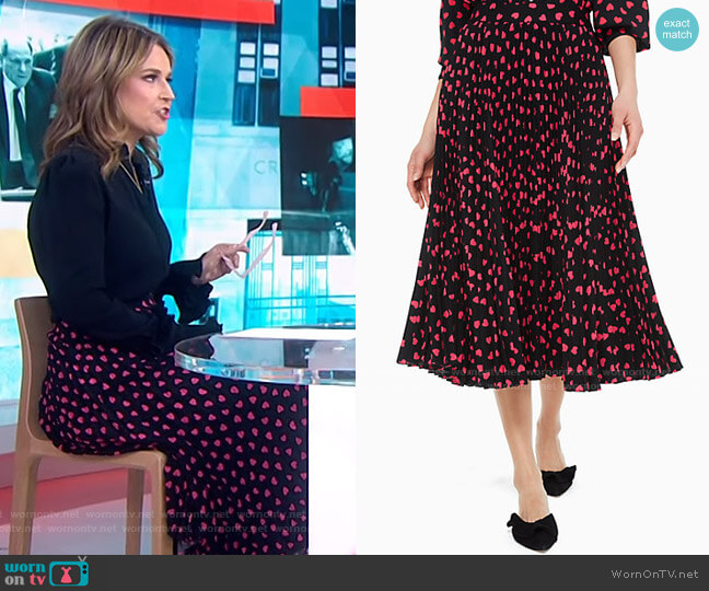 Heartbeat Pleated Skirt by by Kate Spade  worn by Savannah Guthrie  on Today