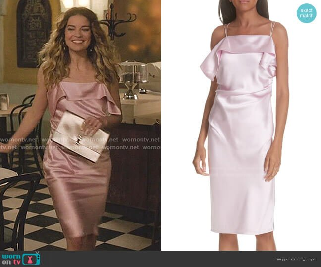 Drape Front Satin Dress by Helmut Lang worn by Alexis Rose (Annie Murphy) on Schitts Creek