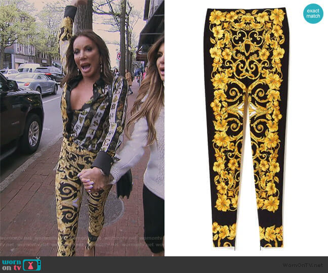 Hibiscus Print Leggings by Versace worn by Danielle Staub  on The Real Housewives of New Jersey