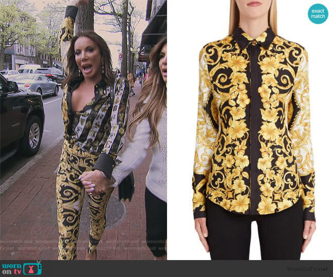 Hibiscus Print Silk Shirt by Versace worn by Danielle Staub  on The Real Housewives of New Jersey