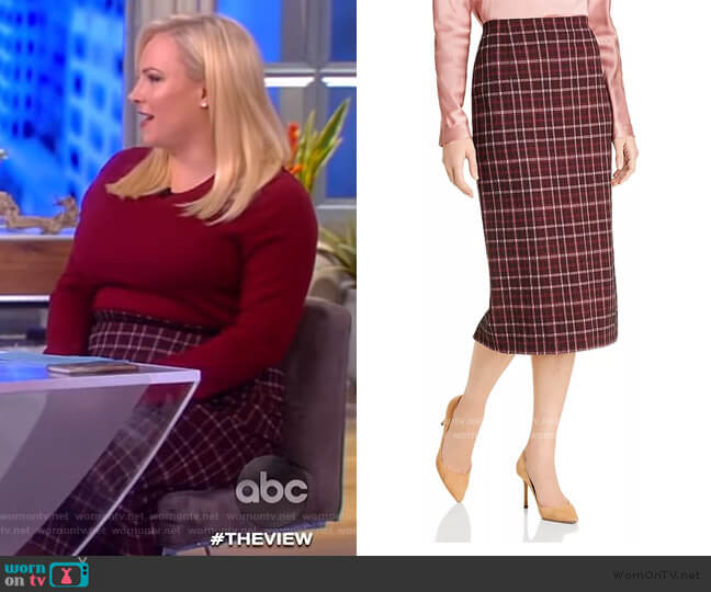 Vecka Plaid Pencil Skirt by BOSS worn by Meghan McCain  on The View
