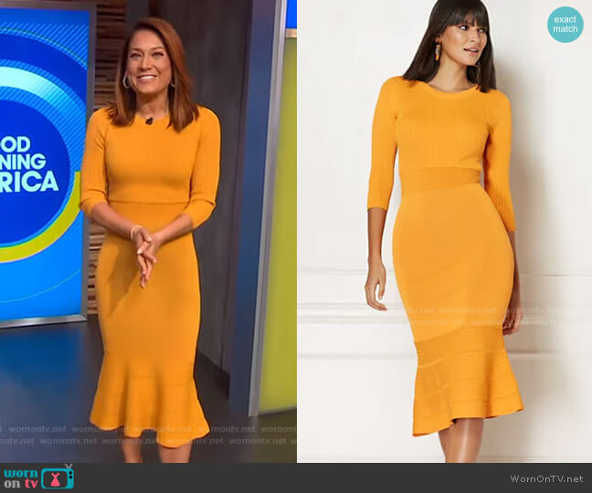Ina Sweater Dress - Eva Mendes Collection by New York & Company worn by Ginger Zee  on Good Morning America