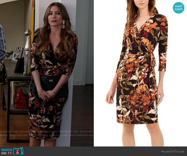 INC International Concepts Printed Faux Wrap Dress in Hank Leopard worn by  Gloria Pritchett (Sofia Vergara) on Modern Family