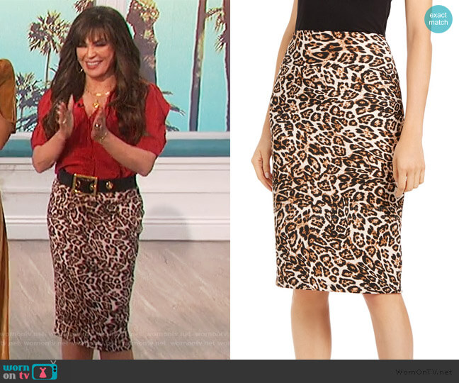 Scuba Skirt in Leopard Print by INC International Concepts worn by Marie Osmond  on The Talk