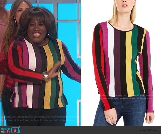 Striped Sweater by INC International Concepts worn by Sheryl Underwood  on The Talk