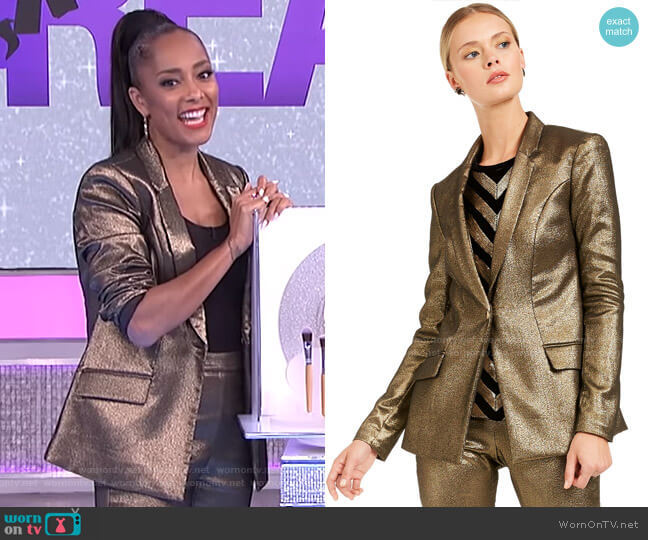 Metallic Blazer by INC International Concepts worn by Amanda Seales  on The Real