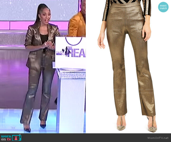 Metallic Bootcut Pants by INC International Concepts worn by Amanda Seales  on The Real